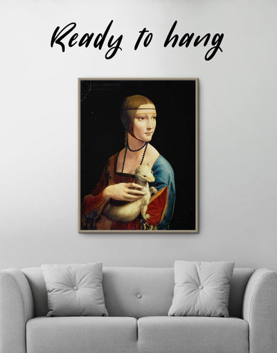 Framed Lady with an Ermine by Leonardo da Vinci Wall Art Canvas - Canvas Wall Art bedroom framed canvas Hallway Leonardo da Vinci Living