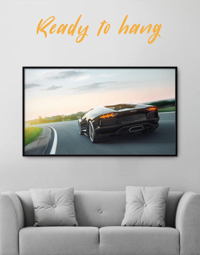Framed Lamborghini 4k Wall Art Canvas - bachelor pad Car framed canvas garage wall art Living Room