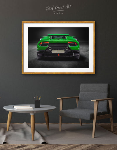 Framed Lamborghini Huracan Performante Wall Art Print - bachelor pad Car framed print garage wall art Green