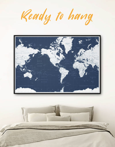 Framed Large World Map Wall Art Canvas - bedroom Blue blue and white Blue Wall Art blue wall art for bedroom