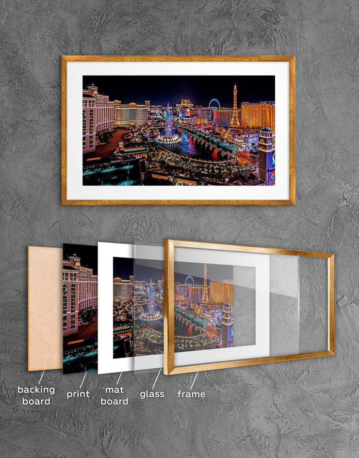 Framed Las Vegas Wall Art Print - Wall Art bedroom City Skyline Wall Art Cityscape Dining room framed print