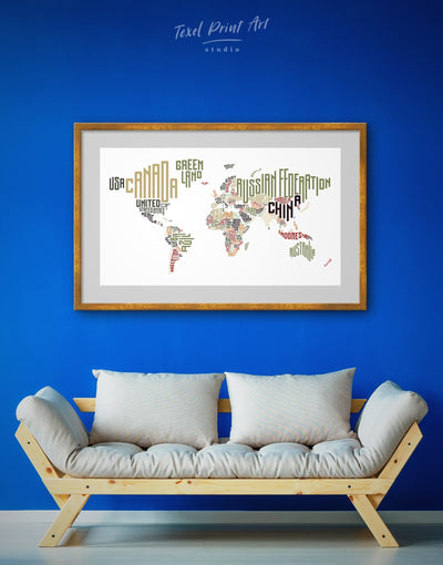 Framed Letter Countries Names Map Wall Art Print - Abstract map bedroom Contemporary framed print framed world map print