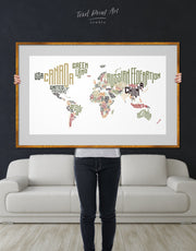 Framed Letter Countries Names Map Wall Art Print