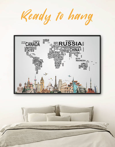 Framed Letter Map Wall Art Canvas - Abstract map bedroom black framed canvas framed world map canvas