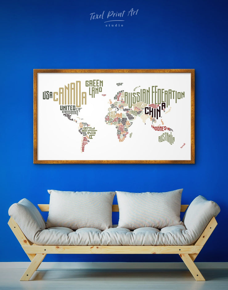 Framed Letter World Map Wall Art Canvas - Abstract map bedroom Contemporary framed canvas framed world map canvas