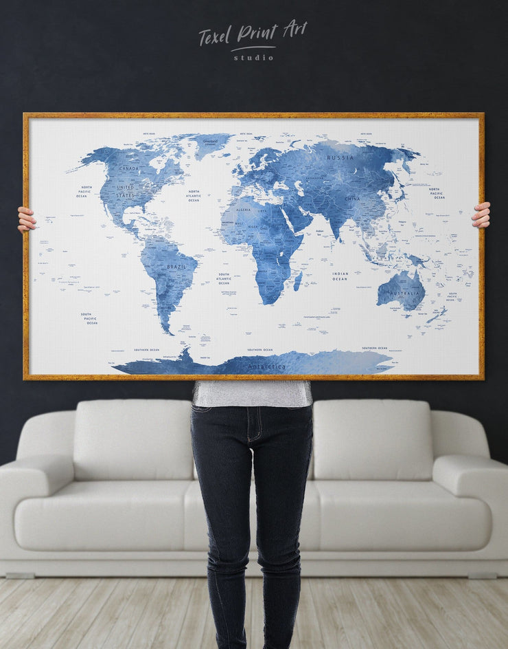 Framed Light Blue Push Pin World Map Wall Art Canvas - bedroom Blue blue and white Blue wall art for living room contemporary wall art
