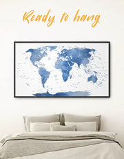Framed Light Blue Push Pin World Map Wall Art Canvas