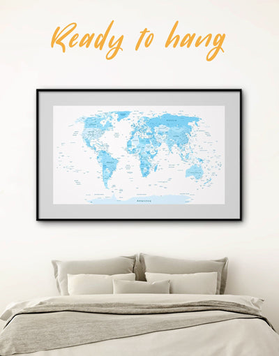 Framed Light Blue World Map Wall Art Print - Blue Blue Abstract Wall art blue and white blue wall art for bedroom Blue wall art for living