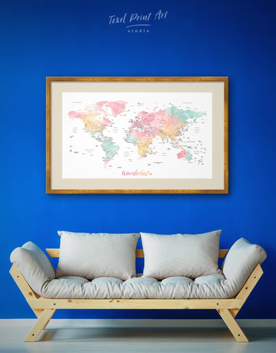 Framed Light Colored Travel Map Wall Art Print - bedroom Bright colored contemporary wall art framed print framed wall art