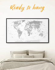 Framed Light Grey World Map Wall Art Canvas