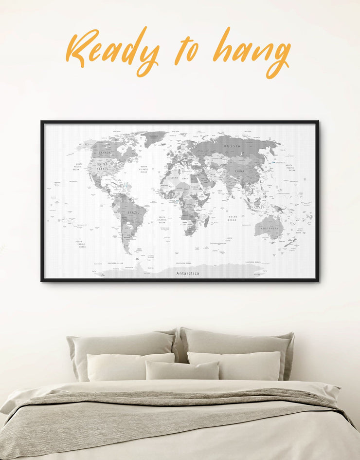 Framed Light Grey World Map Wall Art Canvas - framed canvas framed world map canvas Grey grey bedroom wall art Grey Framed wall art