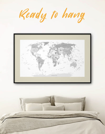 Framed Light Grey World Map Wall Art Print - framed print framed world map print Grey grey bedroom wall art Grey Framed wall art