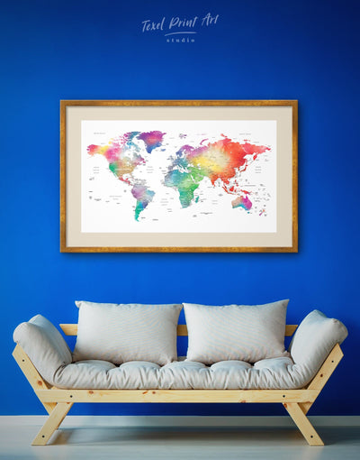 Framed Light World Map Wall Art Print - bedroom blue contemporary wall art framed framed map wall art