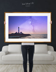 Framed Lighthouse and Night Sky Wall Art Print