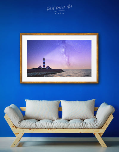 Framed Lighthouse and Night Sky Wall Art Print - bedroom Blue framed print inspirational wall art Lighthouse