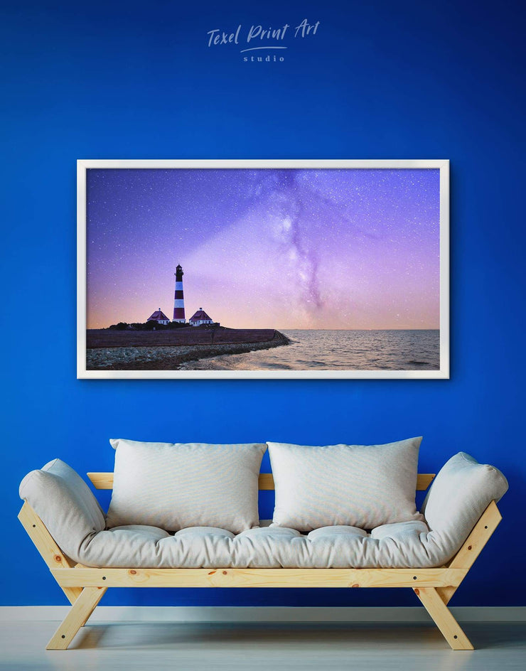 Framed Lighthouse at Night Wall Art Canvas - bedroom Blue framed canvas inspirational wall art Lighthouse