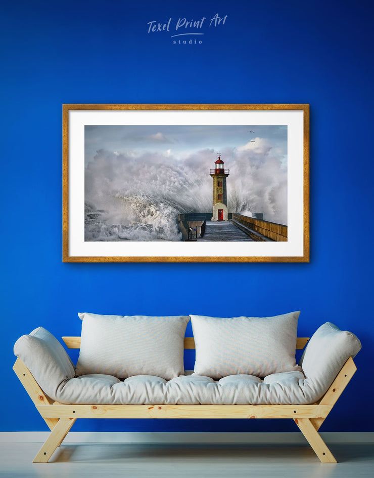 Framed Lighthouse Wall Art Print - bedroom Blue Dining room framed print Grey