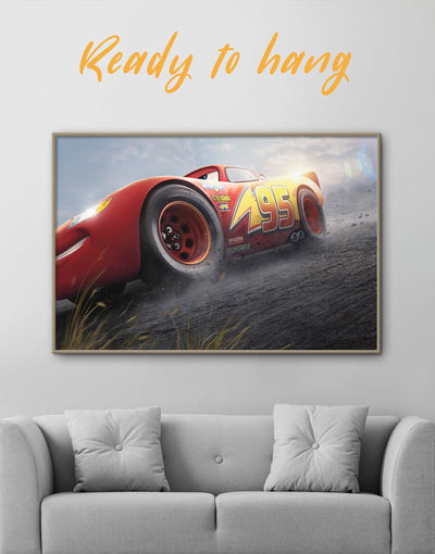 Framed Lightning Cars 3 Wall Art Canvas - bedroom Car disney framed canvas Kids room