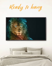Framed Lion Animal Wall Art Canvas