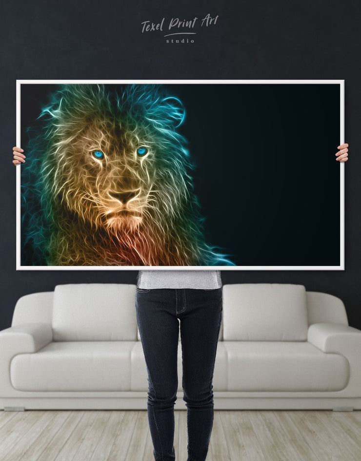 Framed Lion Animal Wall Art Canvas - Animal Animals bedroom Black framed canvas
