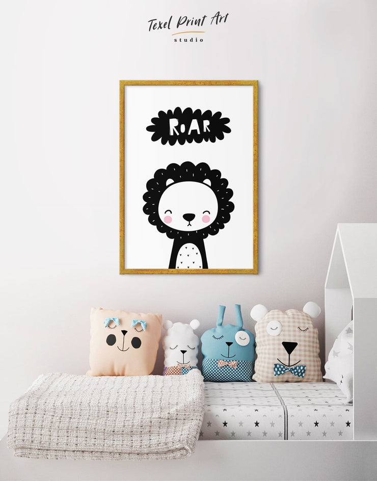 Framed Lion Nursery Decor Wall Art Canvas - Canvas Wall Art Black black and white framed canvas Kids room kids wall art