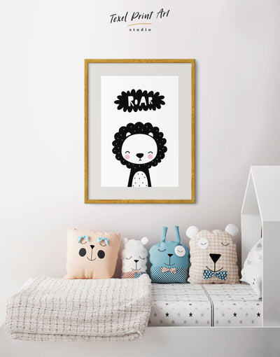 Framed Lion Nursery Decor Wall Art Print - Wall Art black black and white framed print Kids room kids wall art