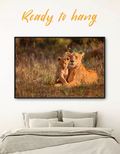Framed Lioness and Baby Wall Art Canvas - Animal Animals framed canvas lion wall art Nature
