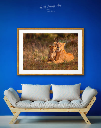 Framed Lioness Wall Art Print - Animal Animals framed print lion wall art Nature