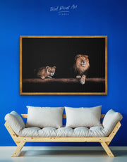 Framed Lions Family Wall Art Canvas