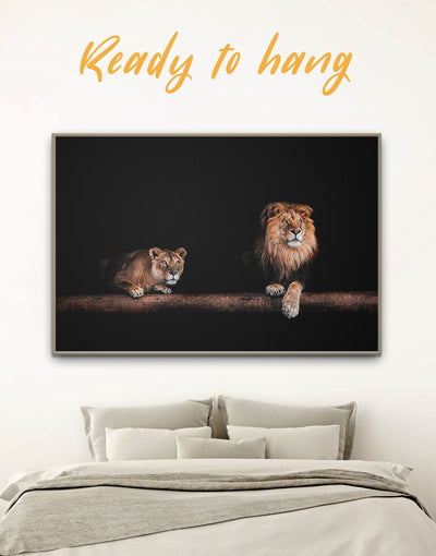 Framed Lions Family Wall Art Canvas - Animal bedroom black and gold wall art framed canvas framed wall art