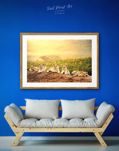Framed Lions Family Wall Art Print - Animal Animals bedroom framed print lion wall art