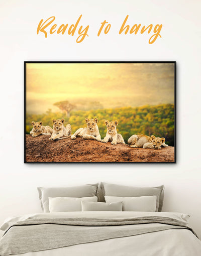Framed Lions Wall Art Canvas - Animal Animals bedroom framed canvas lion wall art