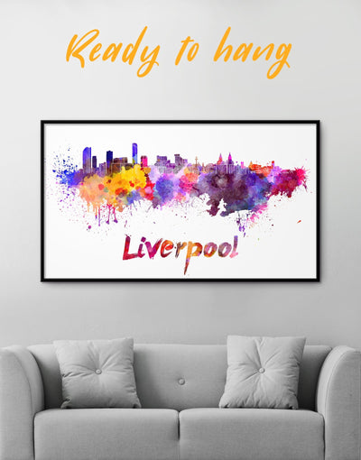Framed Liverpool Skyline Canvas Wall Art - Canvas Wall Art Abstract bedroom City Skyline Wall Art Cityscape Dining room