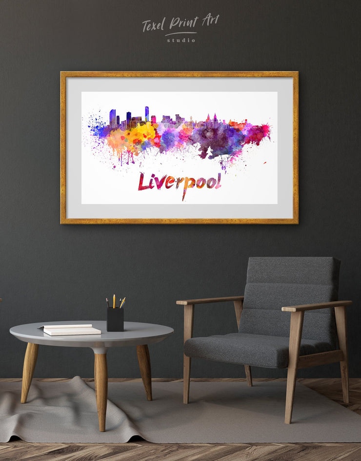 Framed Liverpool Skyline Print - Wall Art Abstract bedroom City Skyline Wall Art Cityscape Dining room