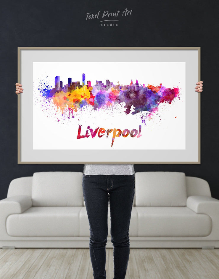Framed Liverpool Skyline Print - Framed Print Wall Art Abstract bedroom City Skyline Wall Art Cityscape Dining room