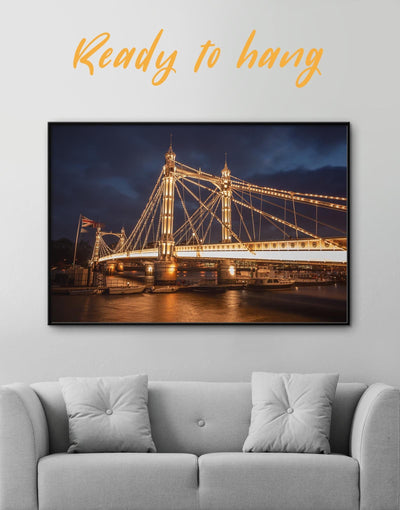 Framed London Albert Bridge Wall Art Canvas - Canvas Wall Art bedroom Bridge framed canvas Hallway Living Room