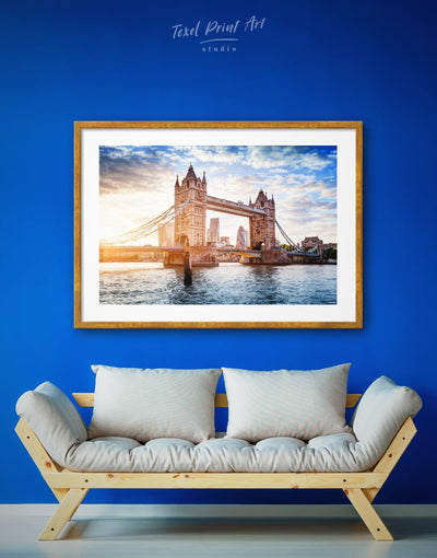 Framed London Bridge Wall Art Print - Architectural Wall Art bedroom Blue Bridge framed print