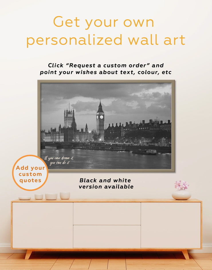 Framed London City Wall Art Canvas - bedroom City Skyline Wall Art Cityscape framed canvas Living Room