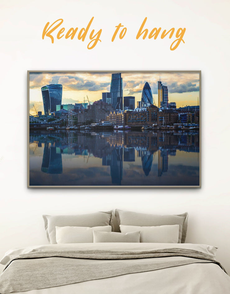 Framed London Cityscape Wall Art Canvas - bedroom blue City Skyline Wall Art Cityscape framed canvas