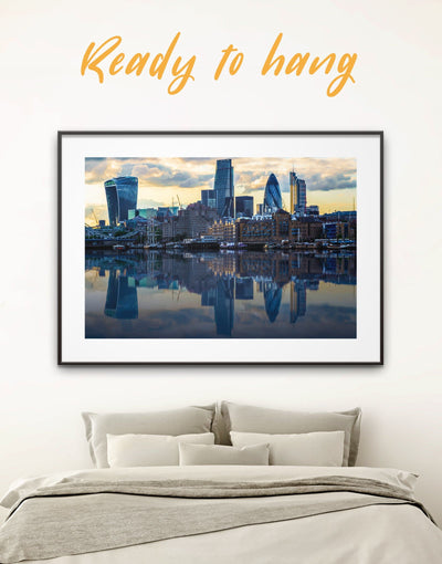 Framed London Skyline Wall Art Print - bedroom blue City Skyline Wall Art Cityscape framed print