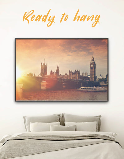 Framed London Wall Art Canvas - bedroom City Skyline Wall Art Cityscape framed canvas Living Room