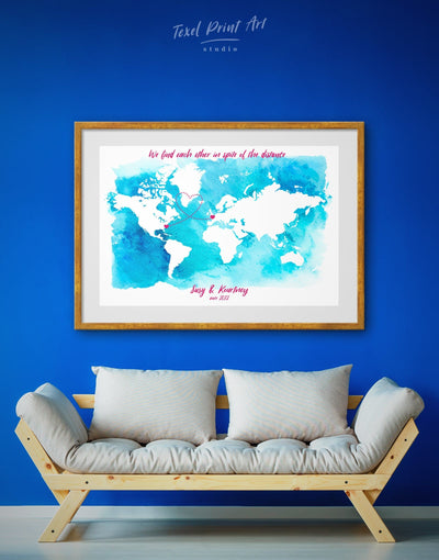 Framed Long Distance Relationship Map Wall Art Print - Abstract Abstract map aqua blue bedroom Blue