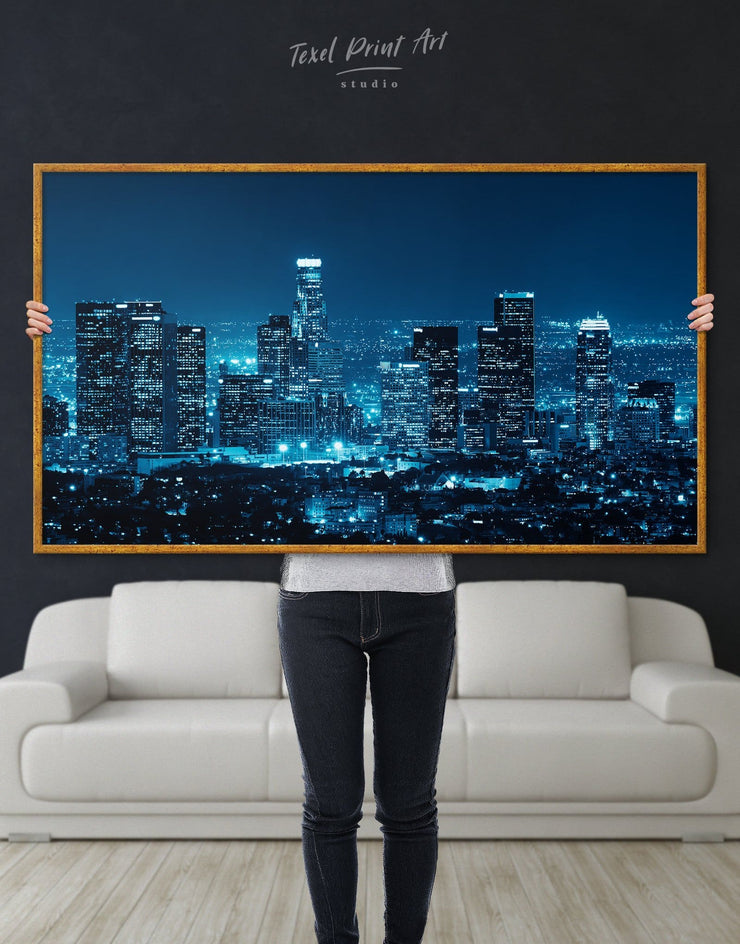 Framed Los Angeles Skyline Wall Art Canvas - Canvas Wall Art bedroom City Skyline Wall Art Cityscape framed canvas Hallway