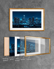 Framed Los Angeles Skyline Wall Art Print