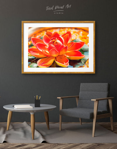 Framed Lotus Wall Art Print - bedroom Floral flower framed print Hallway