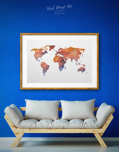 Framed Low Poly World Map Wall Art Print - Abstract map framed map wall art framed print framed world map print geometric world map