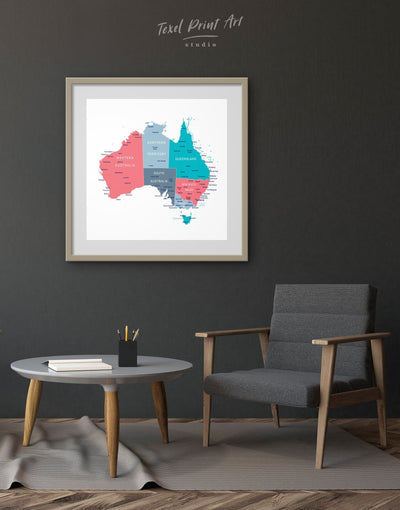 Framed Map of Australia Wall Art Print - bedroom Country Map framed print Hallway Living Room