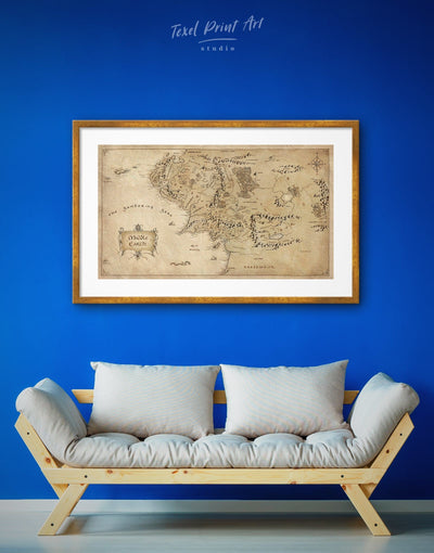Framed Map of the Middle Earth Wall Art Print - Antique bedroom framed print Library Living Room