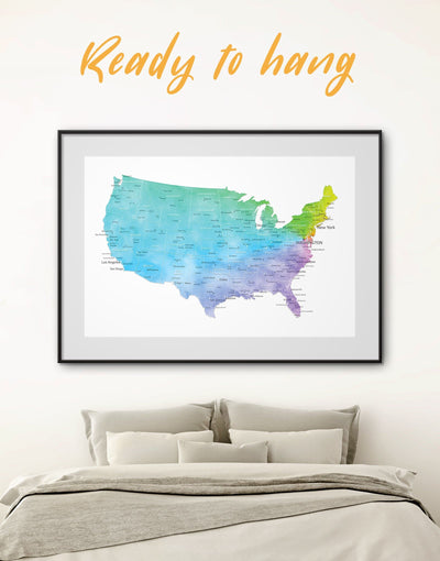 Framed Map of the USA Wall Art Print - bedroom Blue blue and white contemporary wall art Country Map