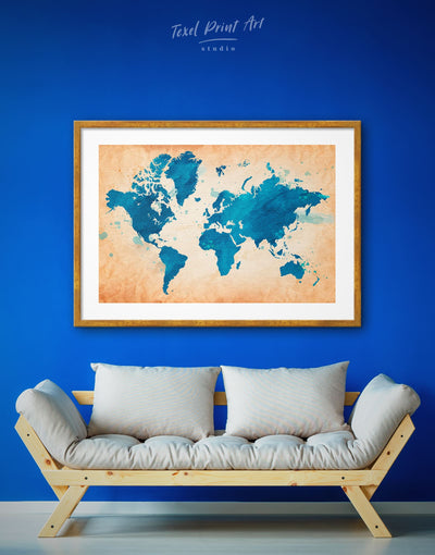 Framed Map of the World Wall Art Print - Abstract map bedroom blue Blue Abstract Wall art brown